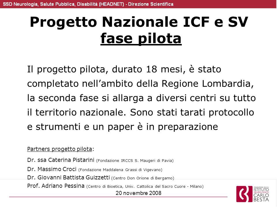 Progetto Nazionale ICF e SV fase pilota