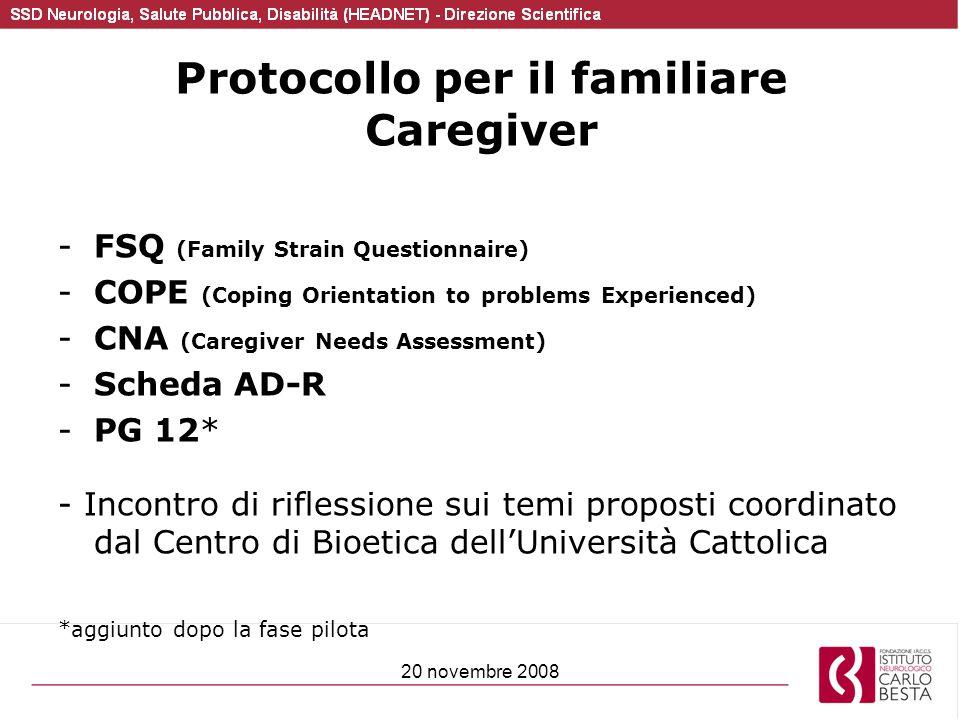 Protocollo per il familiare Caregiver