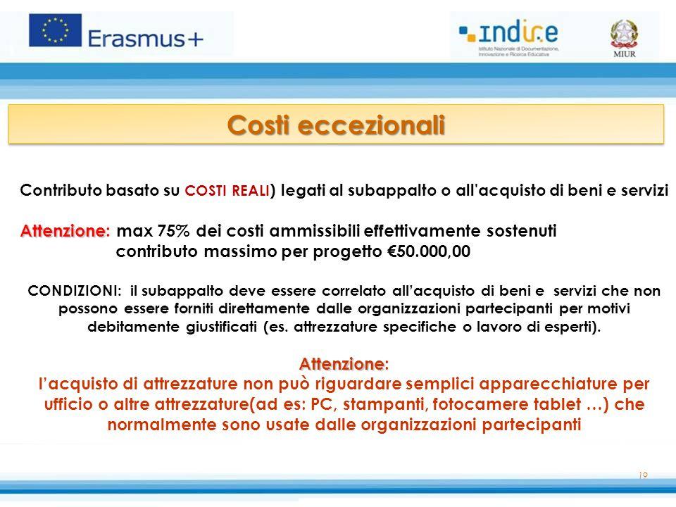 Costi eccezionali contributo massimo per progetto €50.000,00