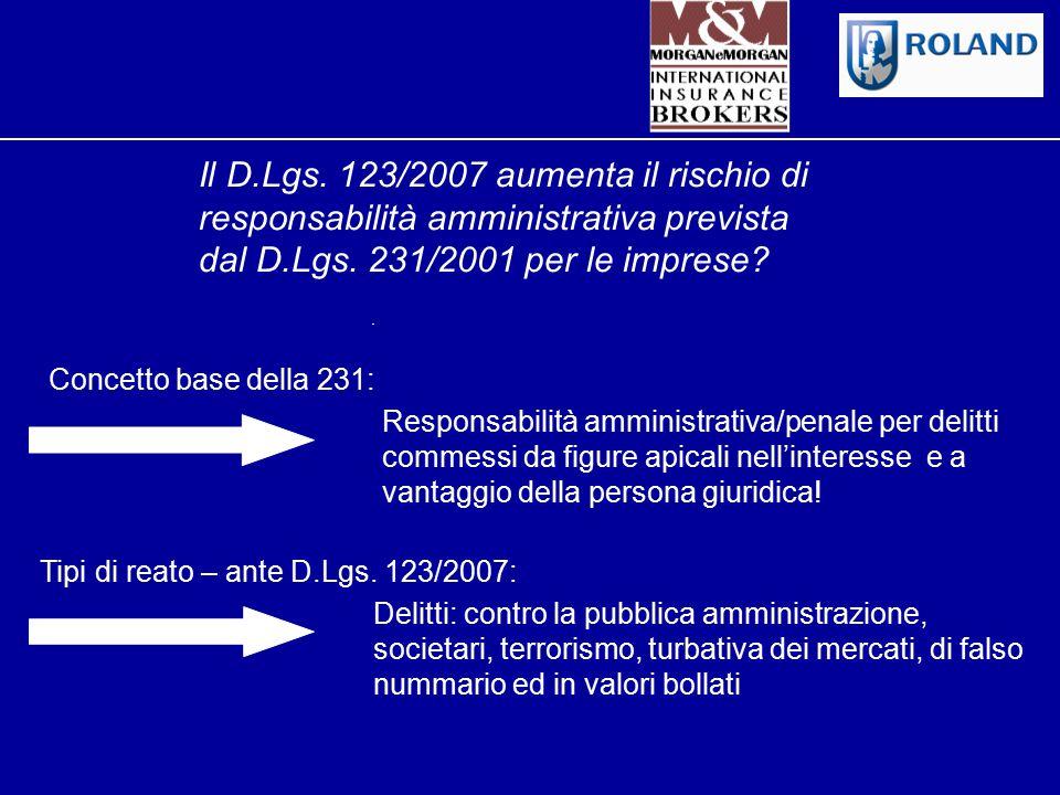 Il D.Lgs. 123/2007 aumenta il rischio di responsabilità amministrativa prevista dal D.Lgs. 231/2001 per le imprese