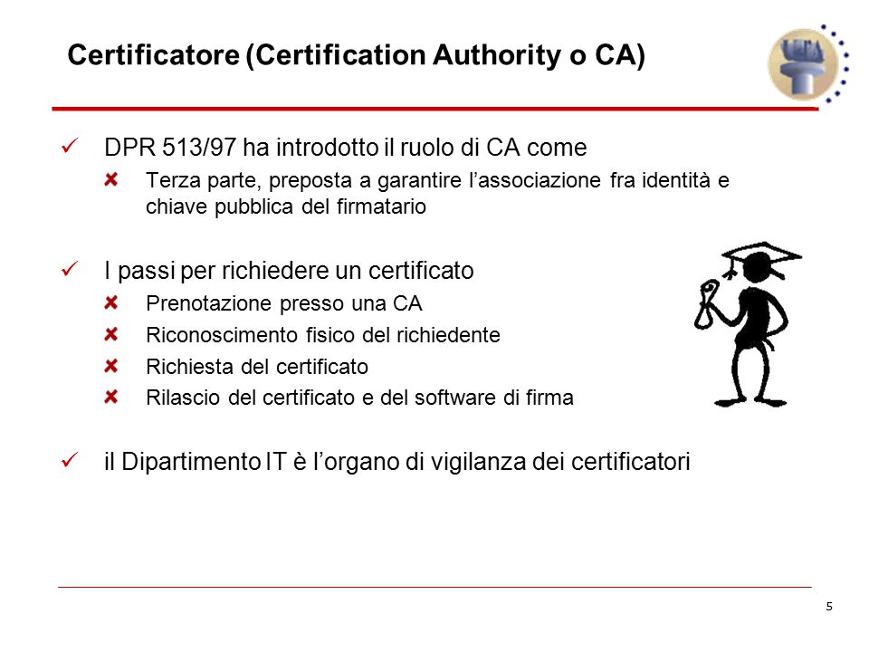 Certificatore (Certification Authority o CA)