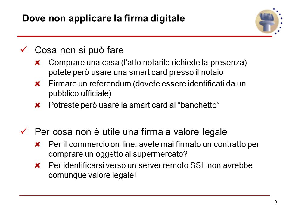 Dove non applicare la firma digitale