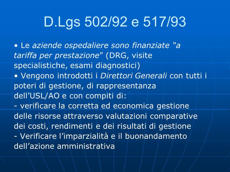D.Lgs 502/92 e 517/93 • Le aziende ospedaliere sono finanziate a