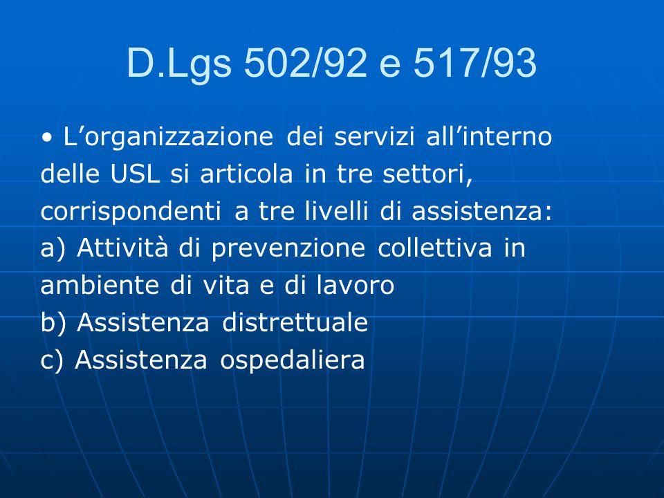 D.Lgs 502/92 e 517/93 • L'organizzazione dei servizi all'interno