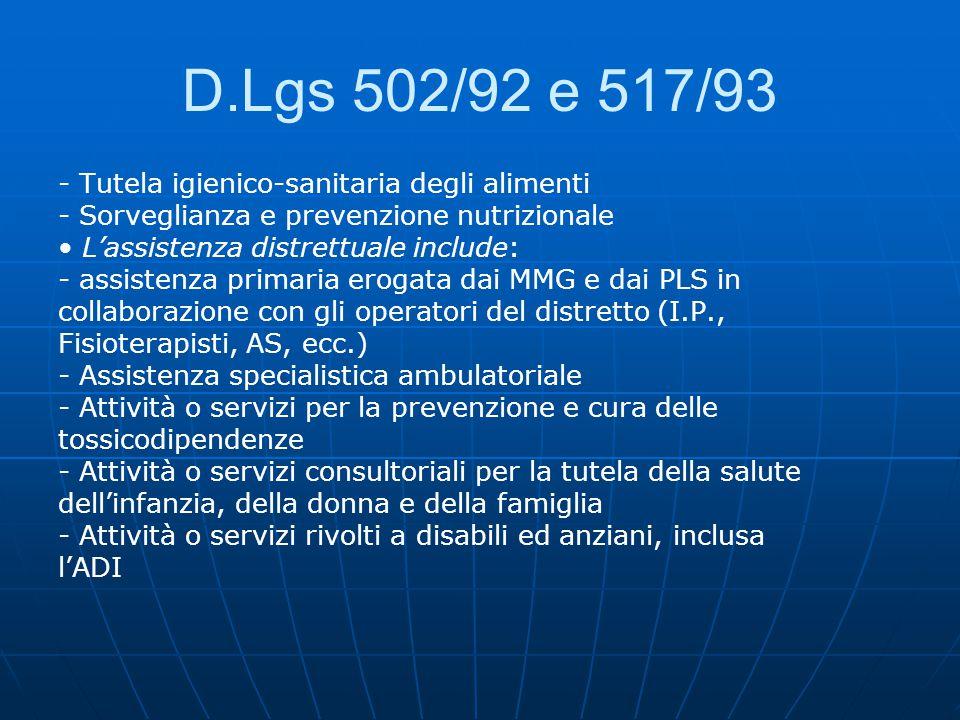 D.Lgs 502/92 e 517/93 - Tutela igienico-sanitaria degli alimenti