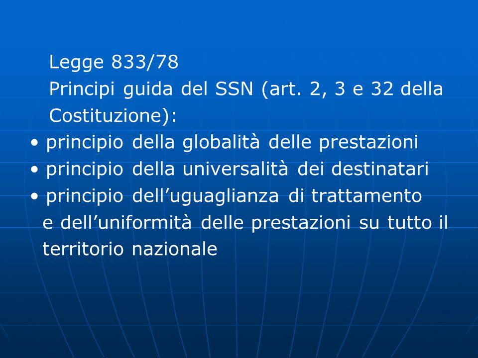 Legge 833/78 Principi guida del SSN (art. 2, 3 e 32 della. Costituzione): • principio della globalità delle prestazioni.