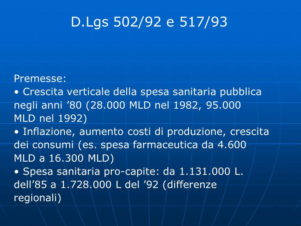 D.Lgs 502/92 e 517/93 Premesse: • Crescita verticale della spesa sanitaria pubblica. negli anni '80 (28.000 MLD nel 1982, 95.000.