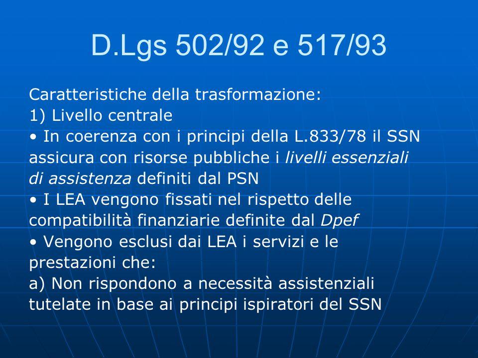 D.Lgs 502/92 e 517/93 Caratteristiche della trasformazione:
