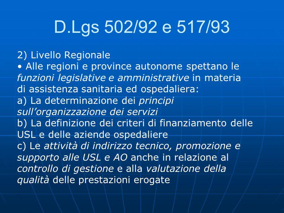 D.Lgs 502/92 e 517/93 2) Livello Regionale