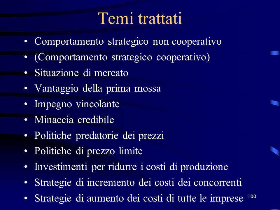 Temi trattati Comportamento strategico non cooperativo