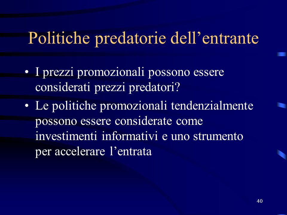 Politiche predatorie dell'entrante