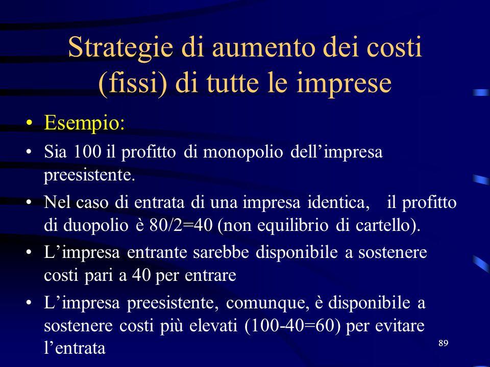 Strategie di aumento dei costi (fissi) di tutte le imprese