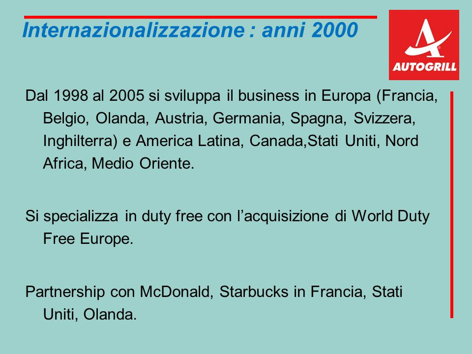 Internazionalizzazione : anni 2000