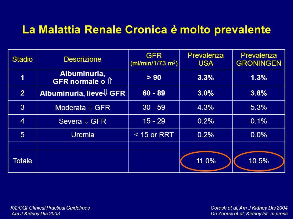 La Malattia Renale Cronica è molto prevalente Albuminuria, lieve GFR