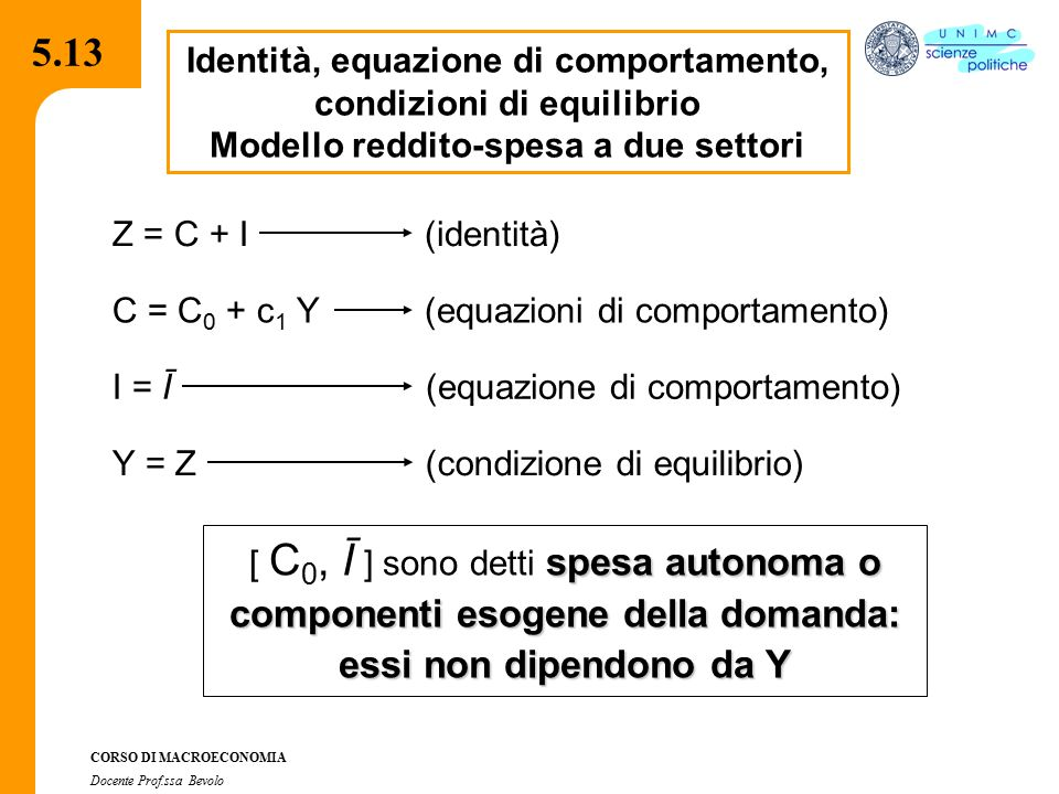 5.13 Identità, equazione di comportamento, condizioni di equilibrio