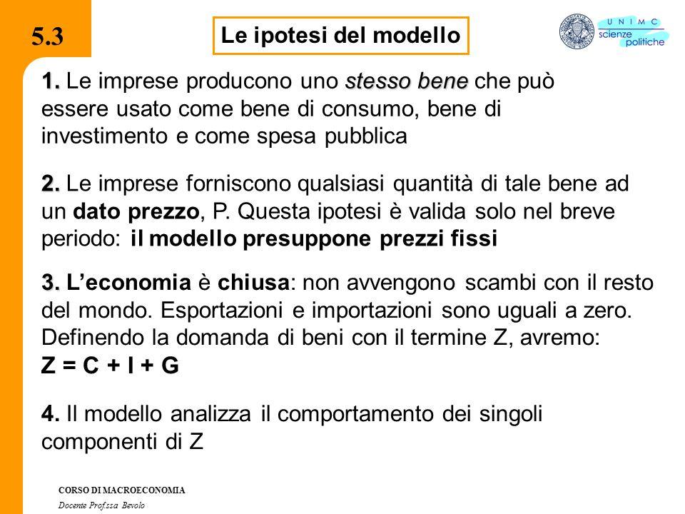 5.3 Z = C + I + G Le ipotesi del modello