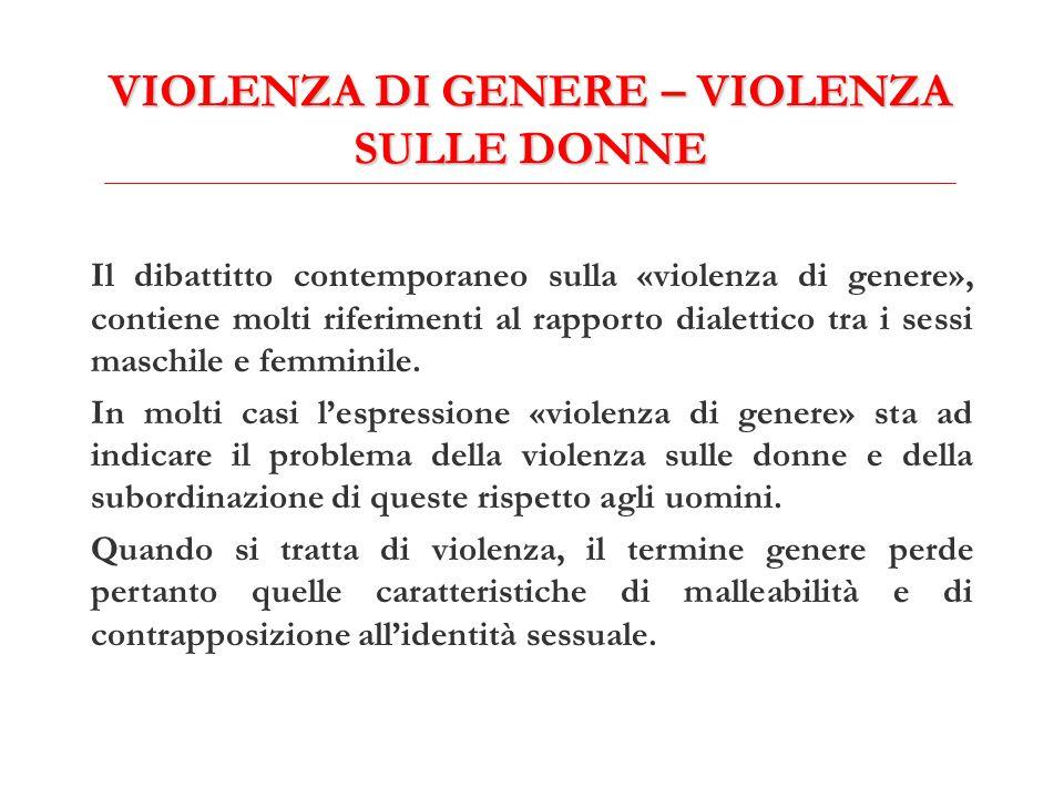 VIOLENZA DI GENERE – VIOLENZA SULLE DONNE