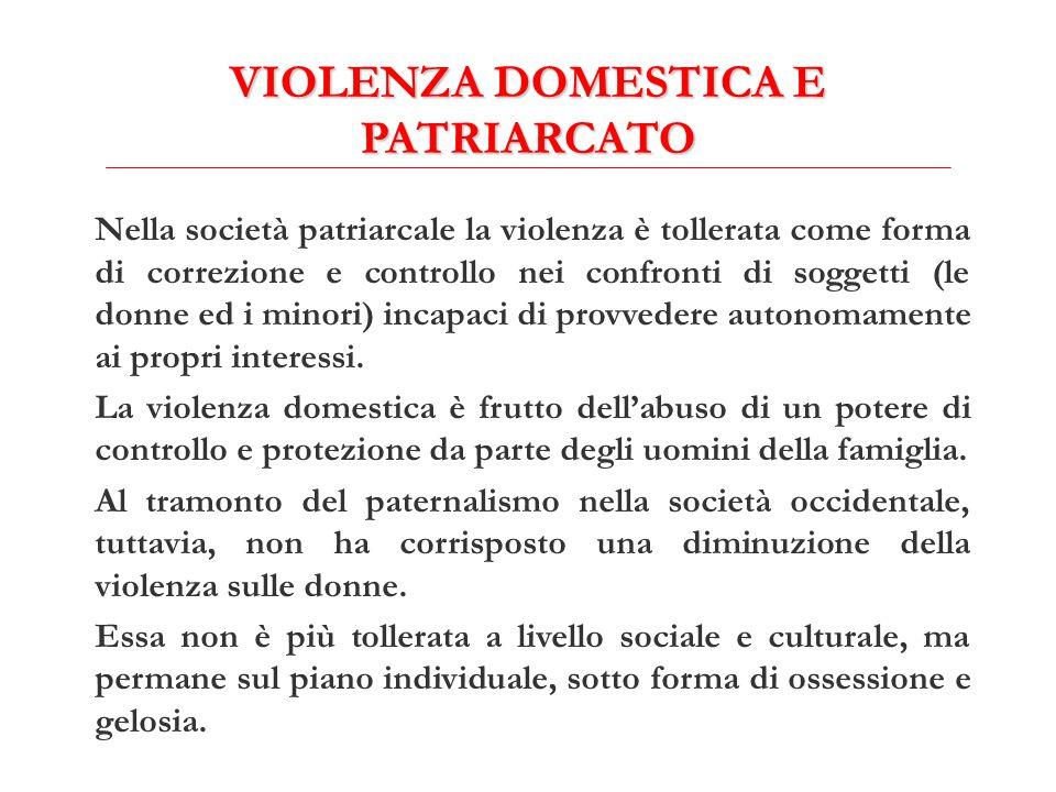 VIOLENZA DOMESTICA E PATRIARCATO