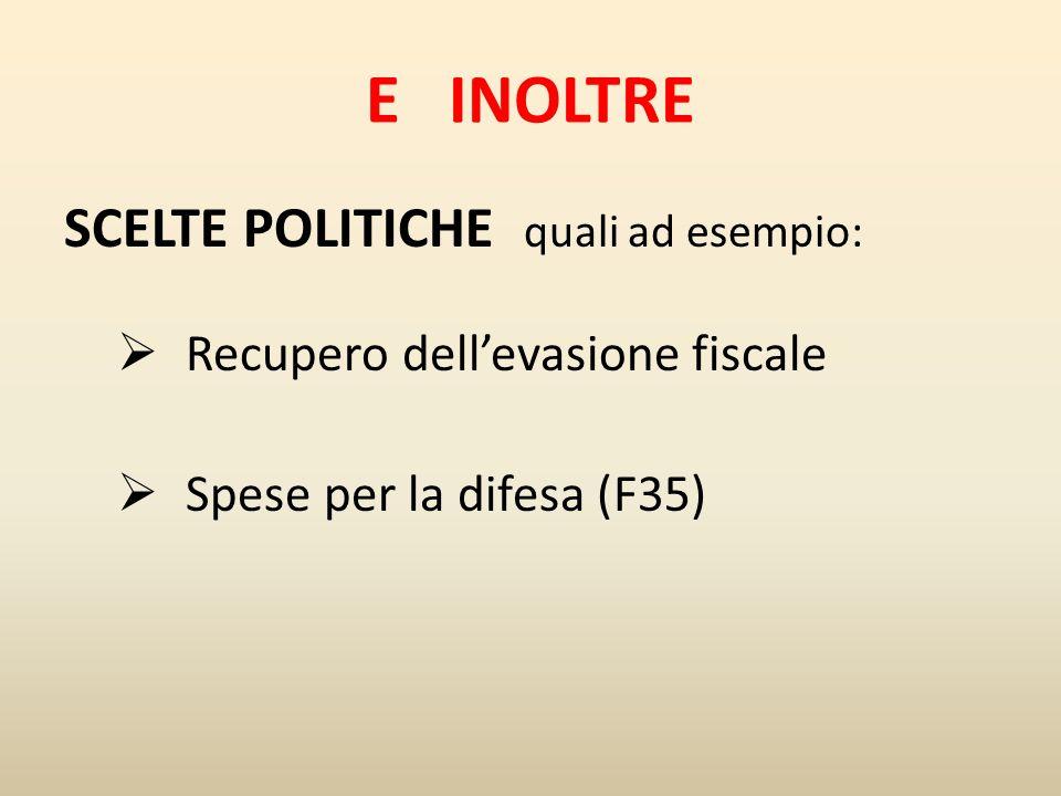 E INOLTRE SCELTE POLITICHE quali ad esempio: