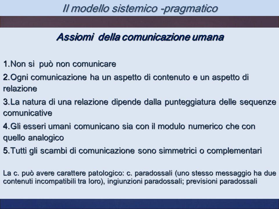 Il modello sistemico -pragmatico