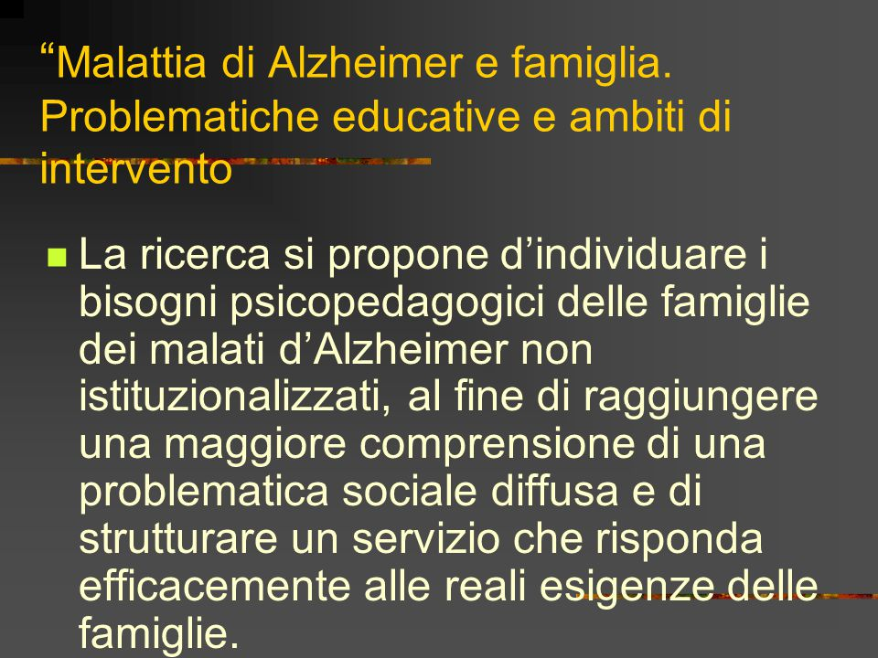 Malattia di Alzheimer e famiglia