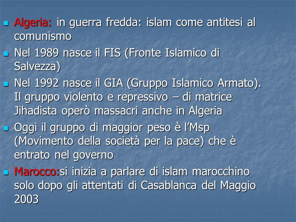 Algeria: in guerra fredda: islam come antitesi al comunismo