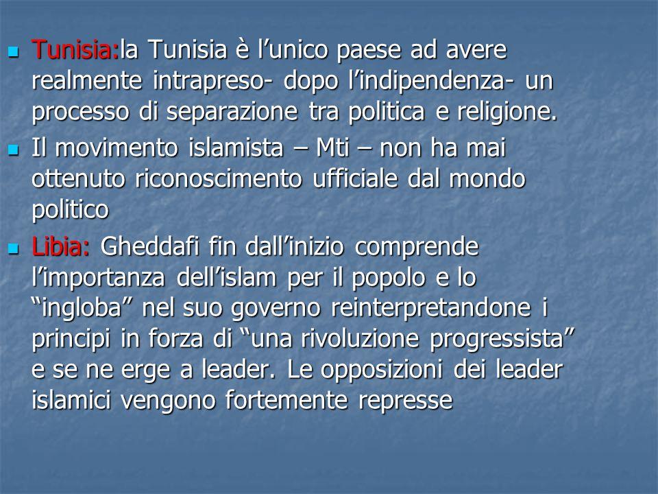 Tunisia:la Tunisia è l'unico paese ad avere realmente intrapreso- dopo l'indipendenza- un processo di separazione tra politica e religione.
