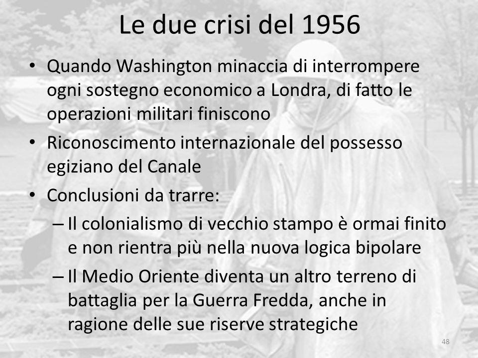 Le due crisi del 1956 Quando Washington minaccia di interrompere ogni sostegno economico a Londra, di fatto le operazioni militari finiscono.