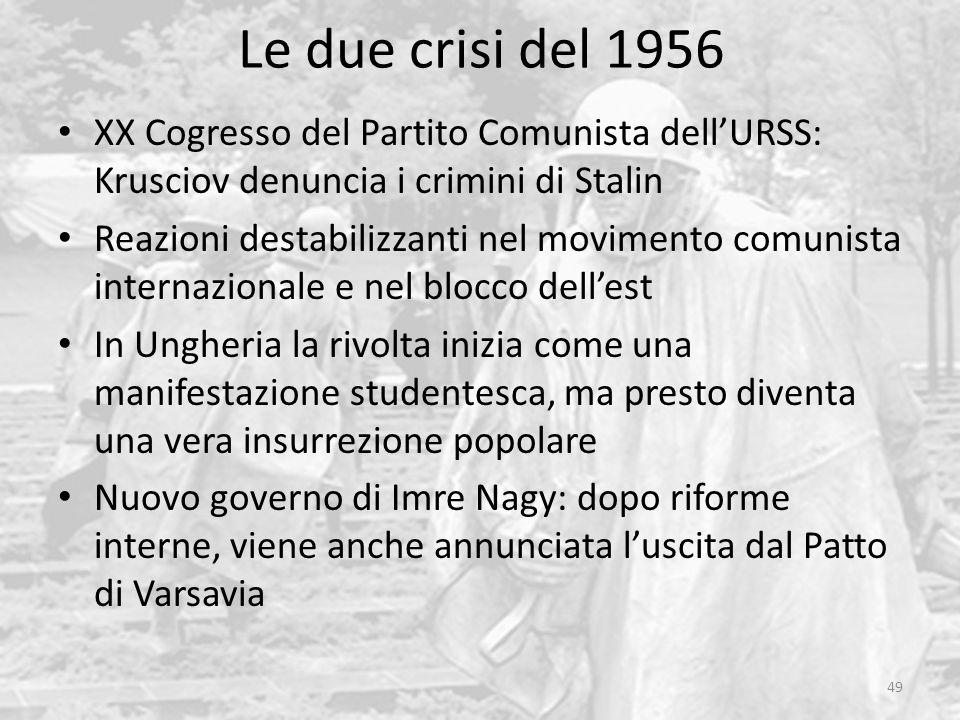 Le due crisi del 1956 XX Cogresso del Partito Comunista dell'URSS: Krusciov denuncia i crimini di Stalin.