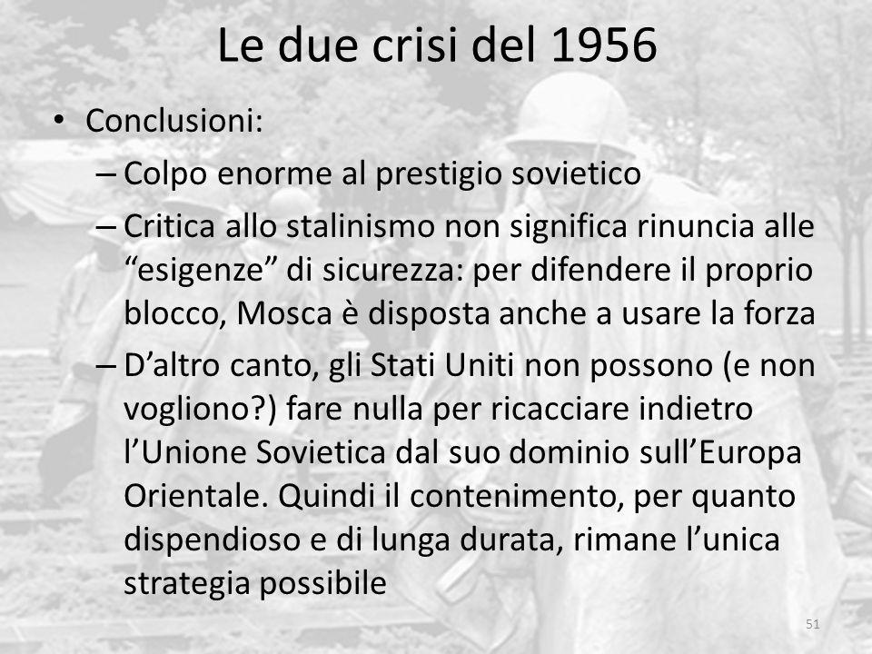Le due crisi del 1956 Conclusioni: Colpo enorme al prestigio sovietico