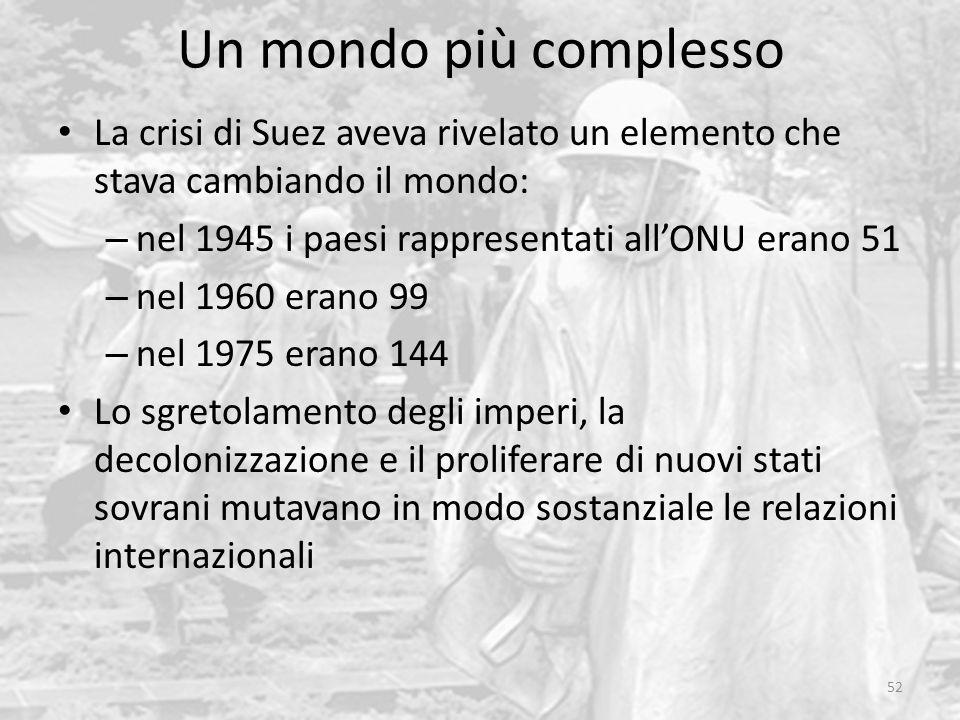 Un mondo più complesso La crisi di Suez aveva rivelato un elemento che stava cambiando il mondo: nel 1945 i paesi rappresentati all'ONU erano 51.