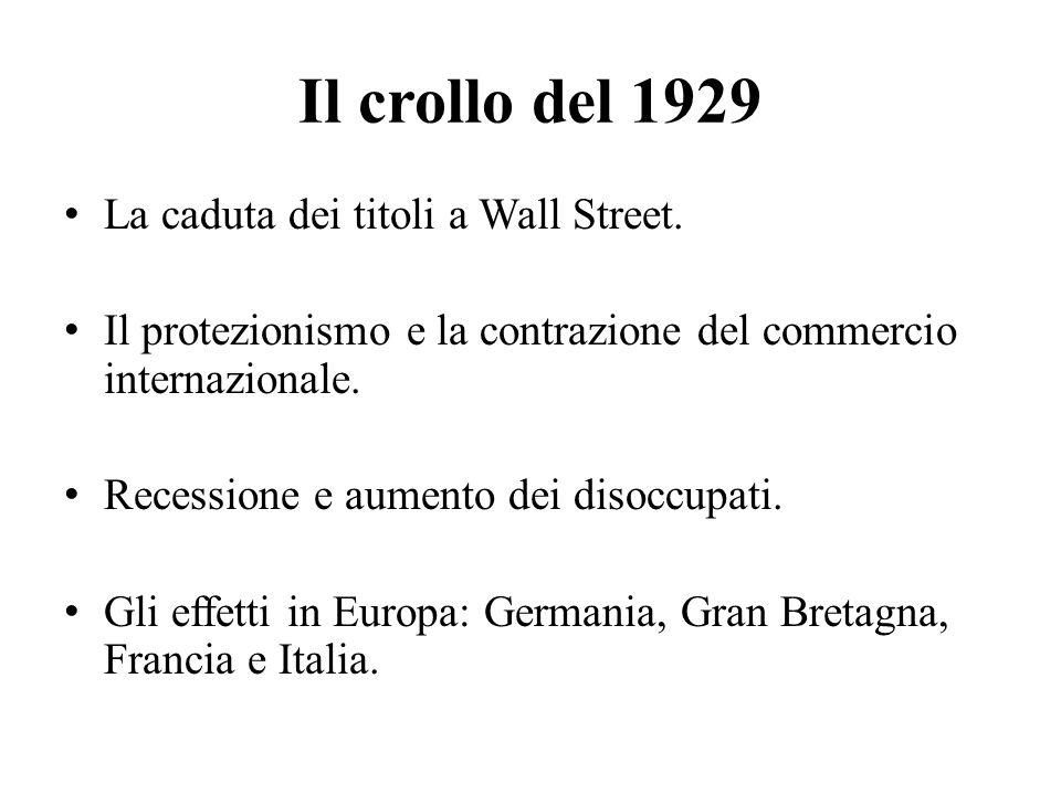Il crollo del 1929 La caduta dei titoli a Wall Street.