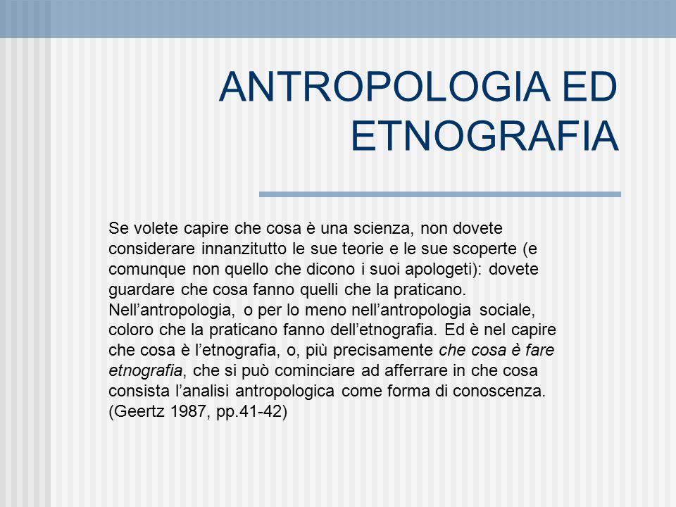 ANTROPOLOGIA ED ETNOGRAFIA