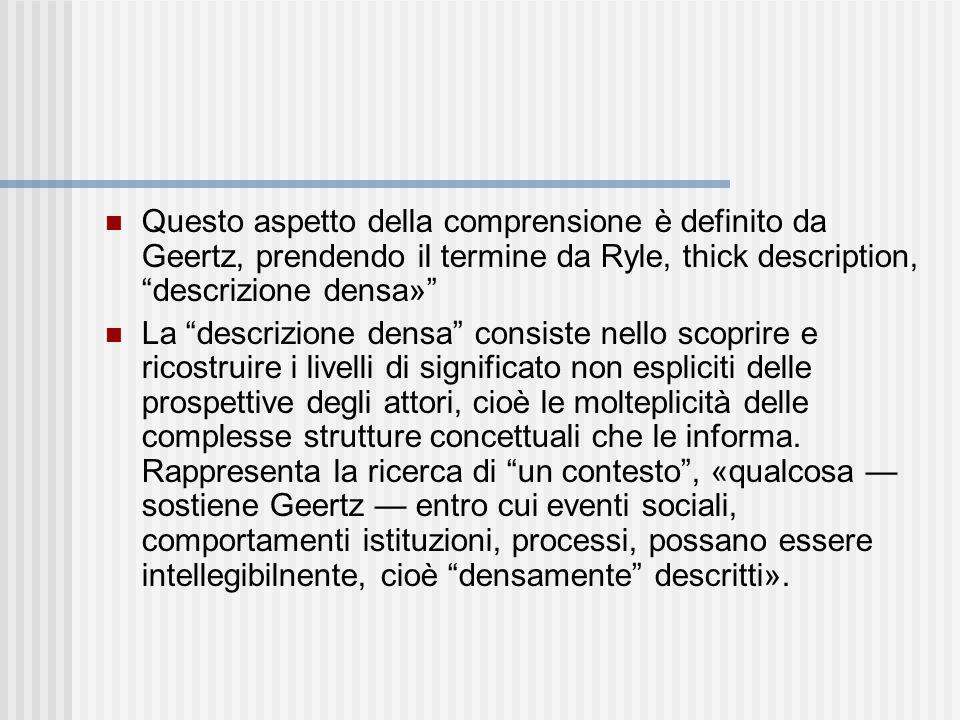 Questo aspetto della comprensione è definito da Geertz, prendendo il termine da Ryle, thick description, descrizione densa»