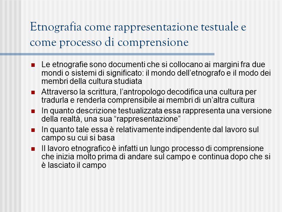 Etnografia come rappresentazione testuale e come processo di comprensione