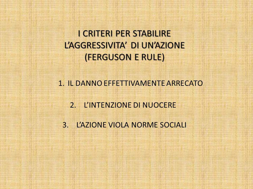 I CRITERI PER STABILIRE L'AGGRESSIVITA' DI UN'AZIONE (FERGUSON E RULE)