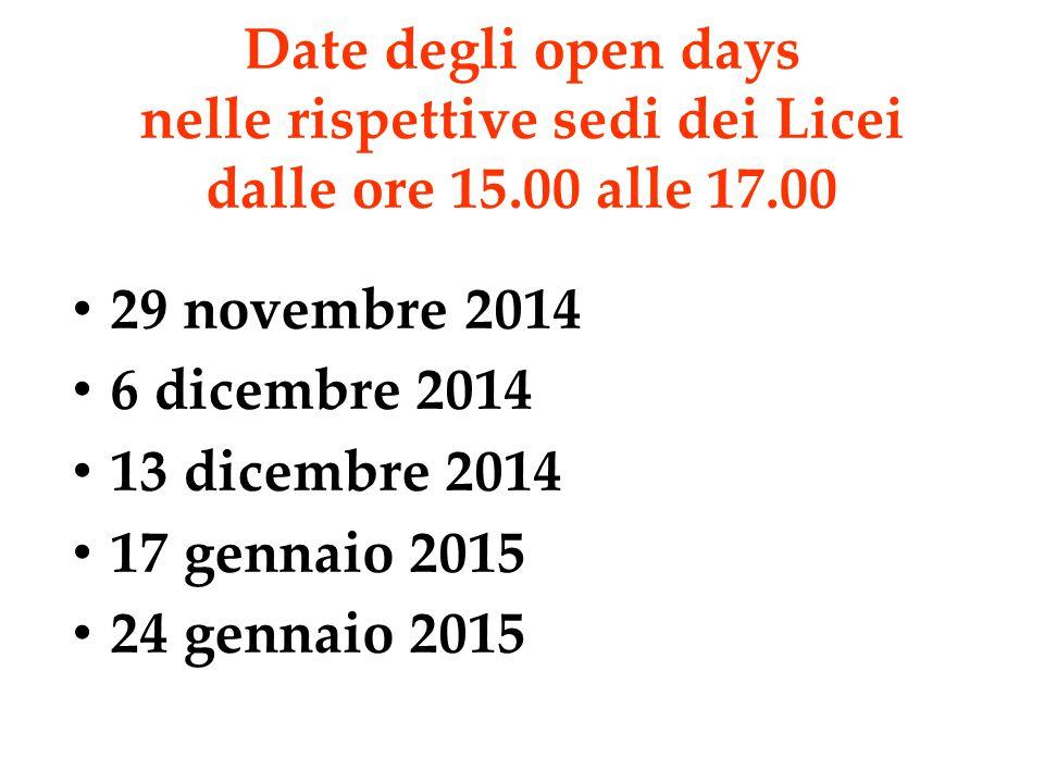Date degli open days nelle rispettive sedi dei Licei dalle ore 15