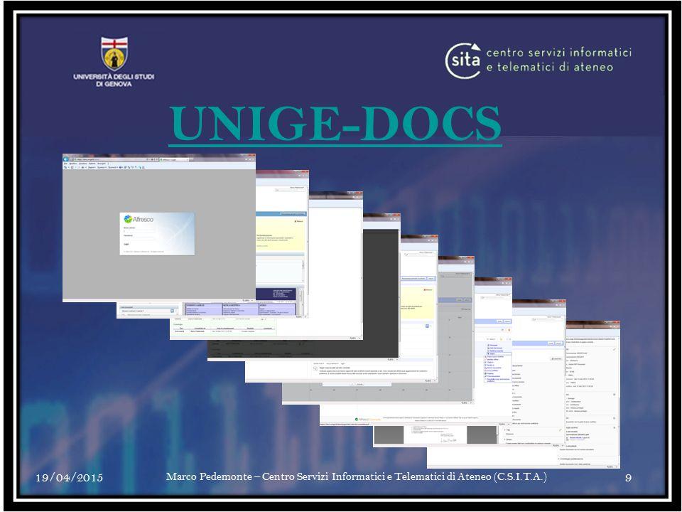 UNIGE-DOCS 13/04/2017. Marco Pedemonte – Centro Servizi Informatici e Telematici di Ateneo (C.S.I.T.A.)