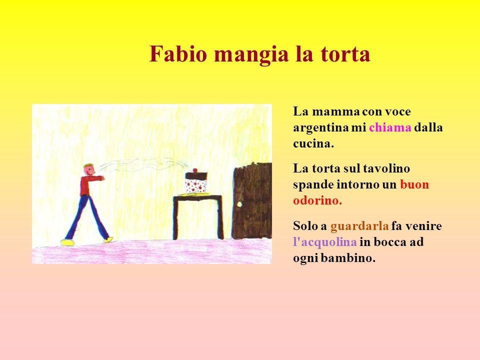 Fabio mangia la torta La mamma con voce argentina mi chiama dalla cucina. La torta sul tavolino spande intorno un buon odorino.