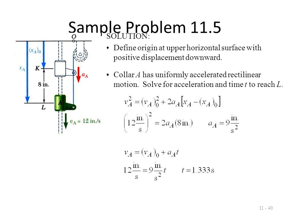 Sample Problem 11.5 SOLUTION: