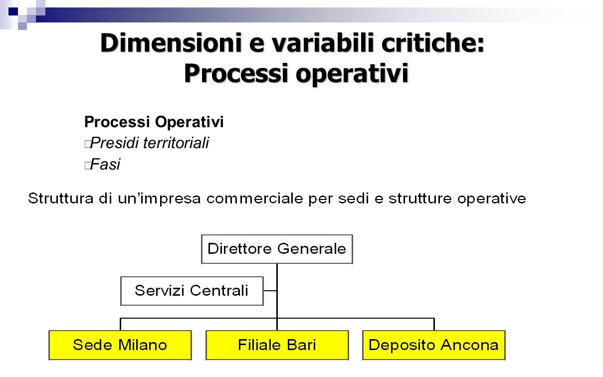 Dimensioni e variabili critiche: Processi operativi