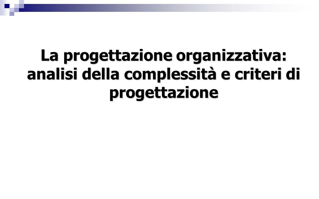 La progettazione organizzativa: