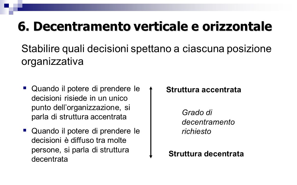 6. Decentramento verticale e orizzontale