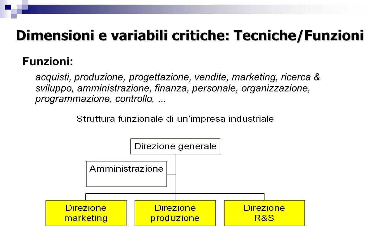 Dimensioni e variabili critiche: Tecniche/Funzioni