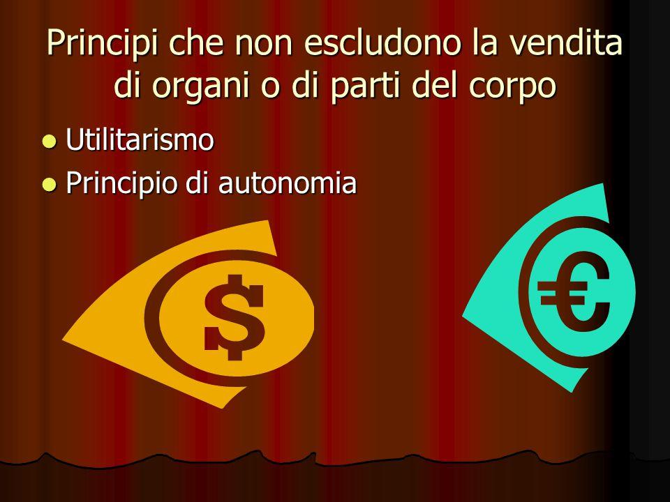 Principi che non escludono la vendita di organi o di parti del corpo