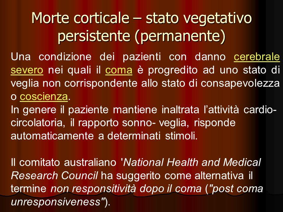 Morte corticale – stato vegetativo persistente (permanente)