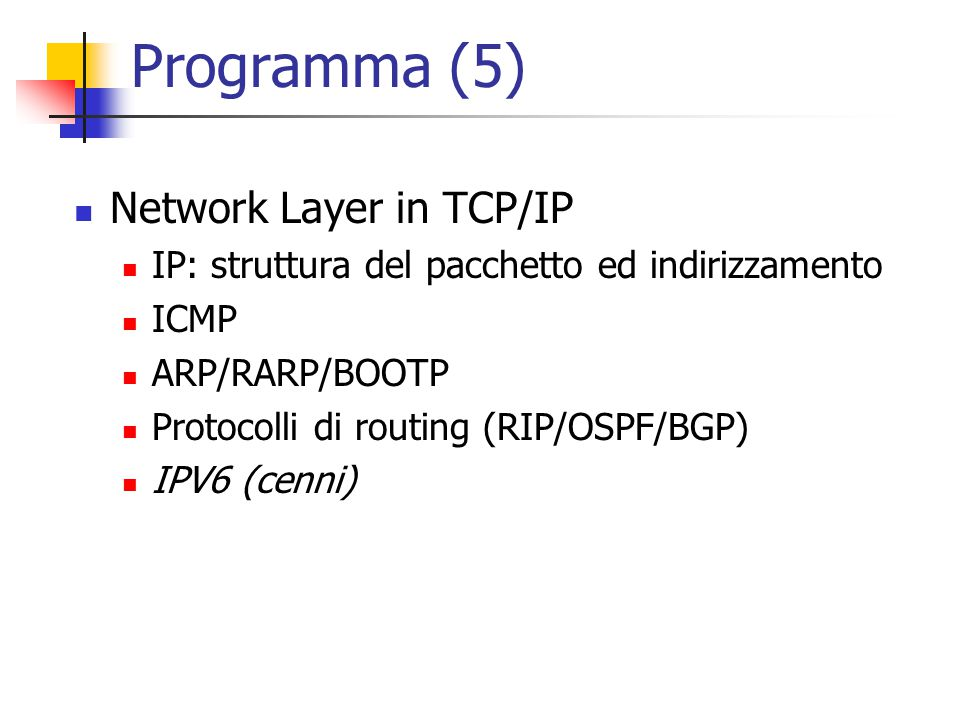 Programma (5) Network Layer in TCP/IP