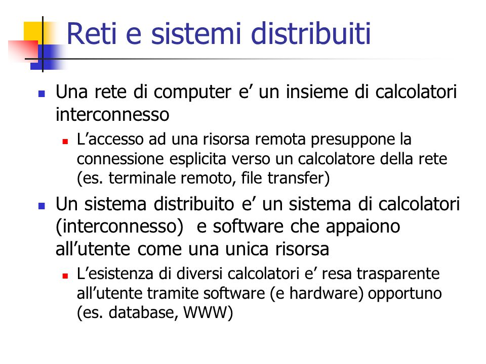 Reti e sistemi distribuiti
