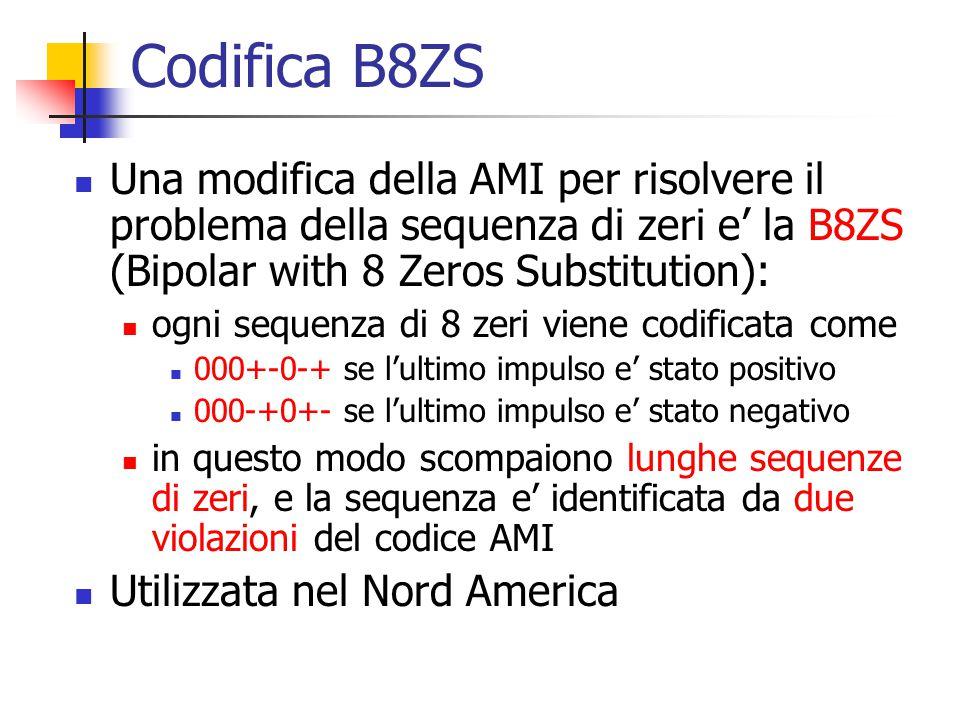 Codifica B8ZS Una modifica della AMI per risolvere il problema della sequenza di zeri e' la B8ZS (Bipolar with 8 Zeros Substitution):