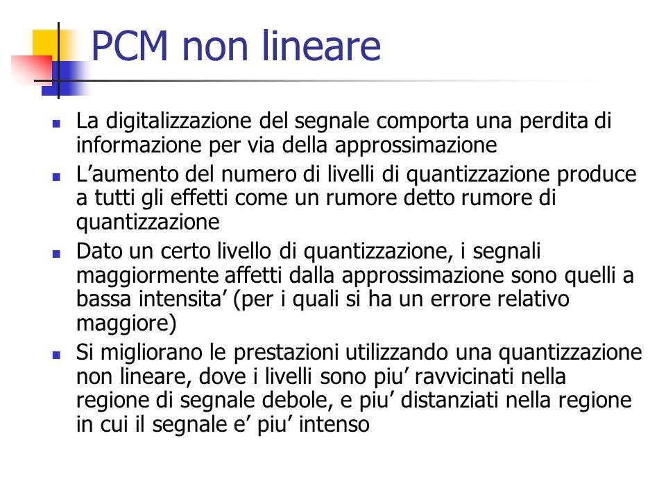 PCM non lineare La digitalizzazione del segnale comporta una perdita di informazione per via della approssimazione.